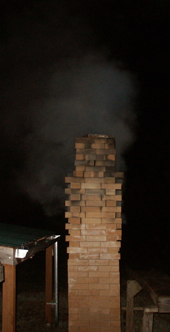 anagama chimney steaming during preheat