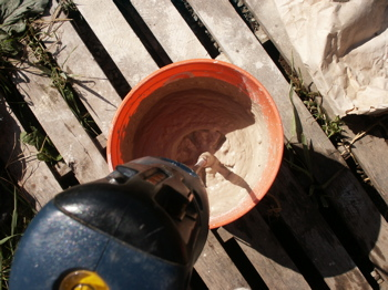 mixing clay the cheap way -- bucket, mud mixer, drill