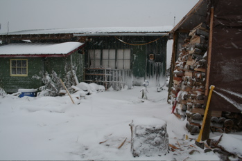 anagama kiln/studio and front yard covered in snow