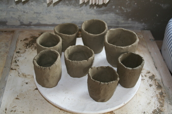 pinch pots made from test clay